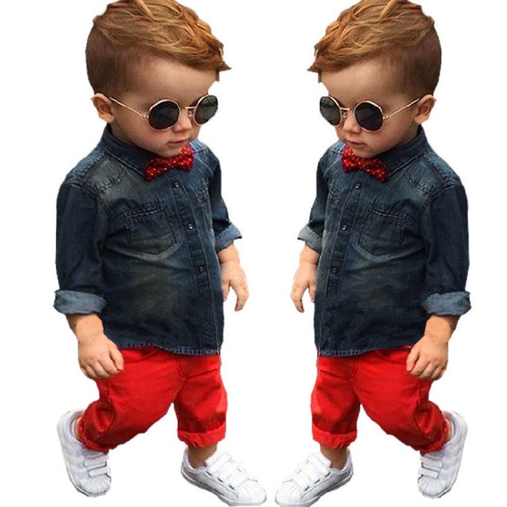 Children Clothing Toddler Boys Handsome Denim T-shirt+Red Trousers Pants Clothes Outfits Sets roupas infantis menino @6024