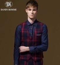 Men Autumn Winter Formal Suits Vests Red Blue Plaid Fashion Business Wedding Groom Personality Super Slim Young Man Vest V-Neck