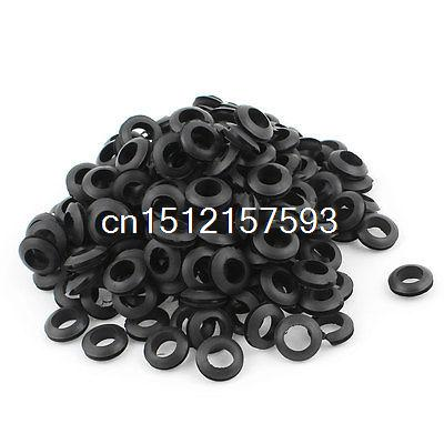 200 x Black Rubber 12mm Open Hole Ring Dual Side Cable Wiring Grommet цена