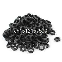 200 X Black Rubber 12mm Open Hole Ring Dual Side Cable Wiring Grommet