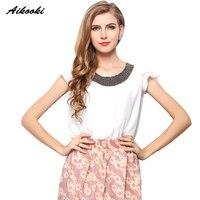 Aikooki 2017 Women S Shirt Europe America Style Handmade Nail Beads Lotus Chiffon Leaf Short Sleeve