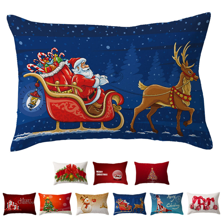 Ouneed Happy Sale bestselling Christmas Car Pillow Case Sofa Waist Throw Cushion Cover Home Decor ap0329-3