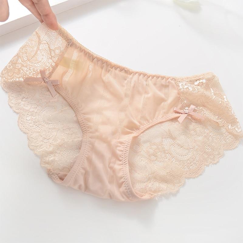 Buy Gumprun Ice Silk Panties Sexy Seamless Lace Panties Hollow Underwear Women Flower Printing Lingerie Low Waist Cozy Briefs