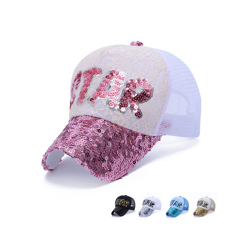 731deaabc71 New Lace Sequins Shine Casual Adjustable Baseball Caps Letter STAR Pattern  Net Mesh Hats Unisex -in Baseball Caps from Apparel Accessories on  Aliexpress.com ...