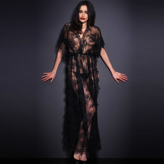 Womens Nightdress Sexy Lace Splicing Nightgowns Batwing Sleeve V-Neck Woman  Sleepwear Nightgown Chemise De Nuit Ladies Nightgown c60c47743