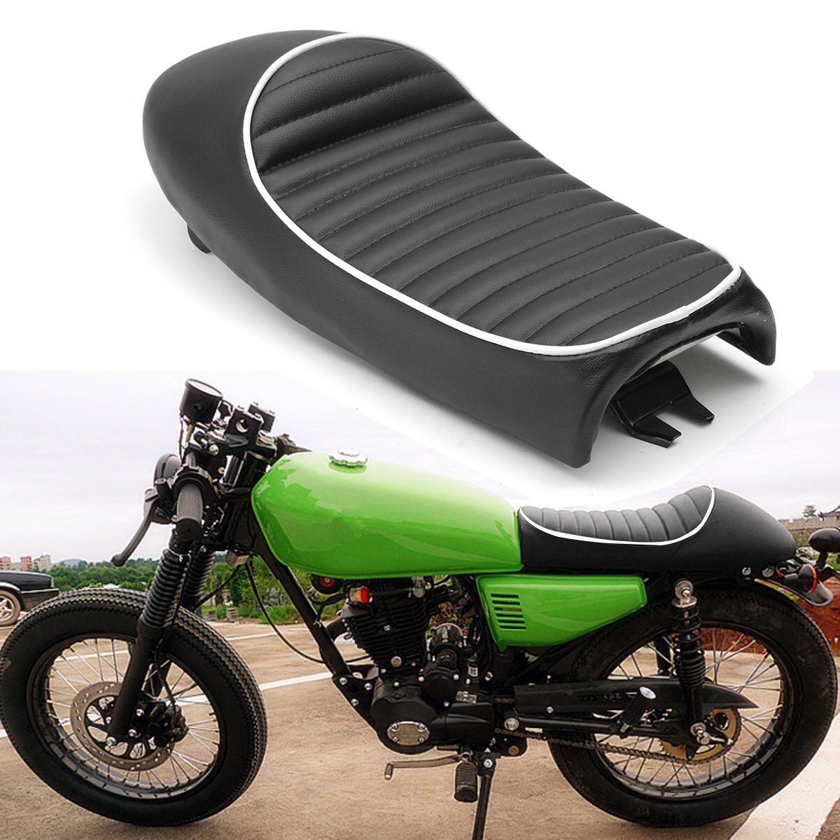 US $23 52 49% OFF 1 Set Black Motorcycle Vintage Hump Cafe Racer Seat Decor  Covers For Honda CB For SUZUKI /GR650/GS/GT/TU250/GN125/GN250/GN400 on
