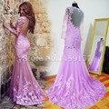 Imagem Real New Lace Vestido de Noite Colher Decote Backless Formal Sereia Vestido Rosa Lace Partido Prom Vestidos