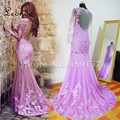 Real Picture Lace Dress Scoop Neckline Backless Semi Formal Gown Mermaid Party Prom Dresses