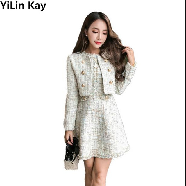 Yilin Kay 2017 Autumn Winter Tweed Two Pieces Sets Clothing Women