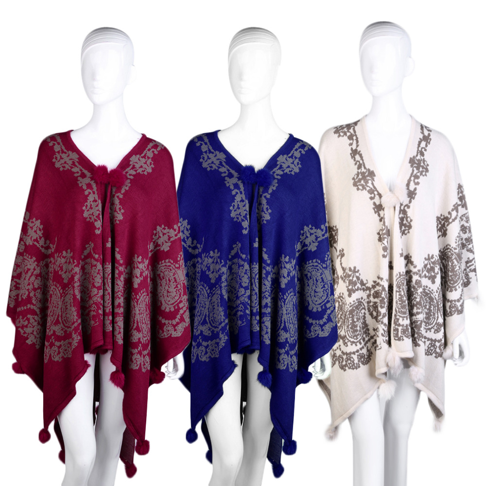 Women Shawl Tassel cape Knitted Cardigan Winter Autumn Blanket Capes Printed Vintage poncho cloak Long tricot Sweater Swing Wrap
