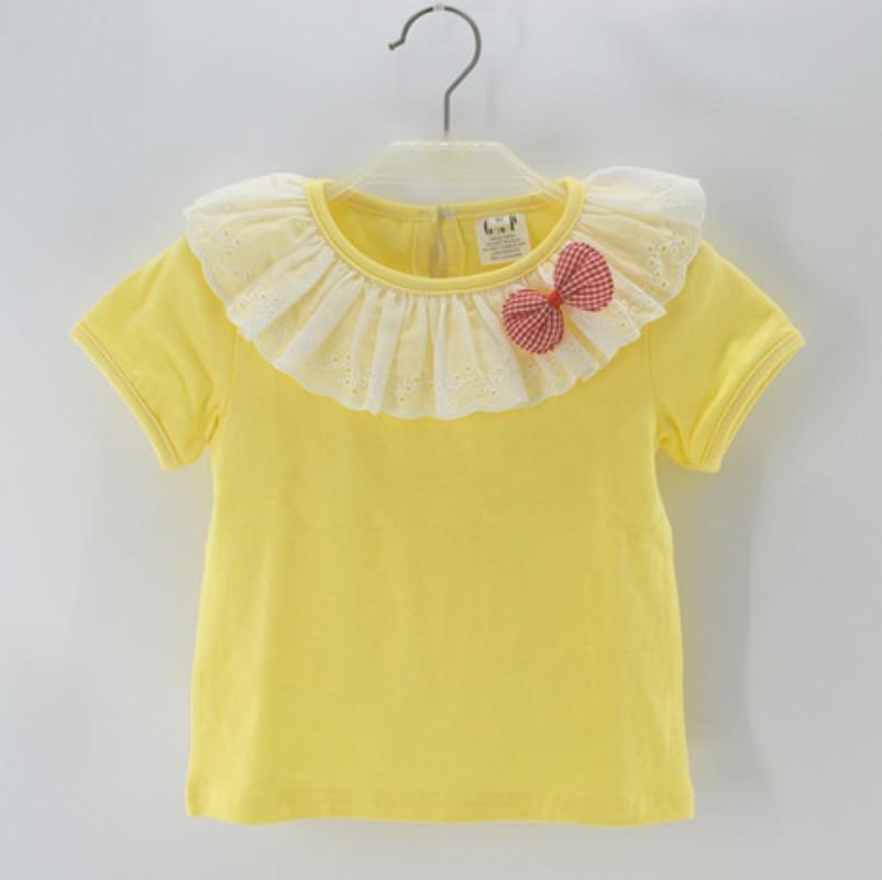f237d7c115f17 Filles bébé vêtements coton à manches courtes t-shirt col en dentelle princesse  tee tops Enfants vêtements multicolore de choisir