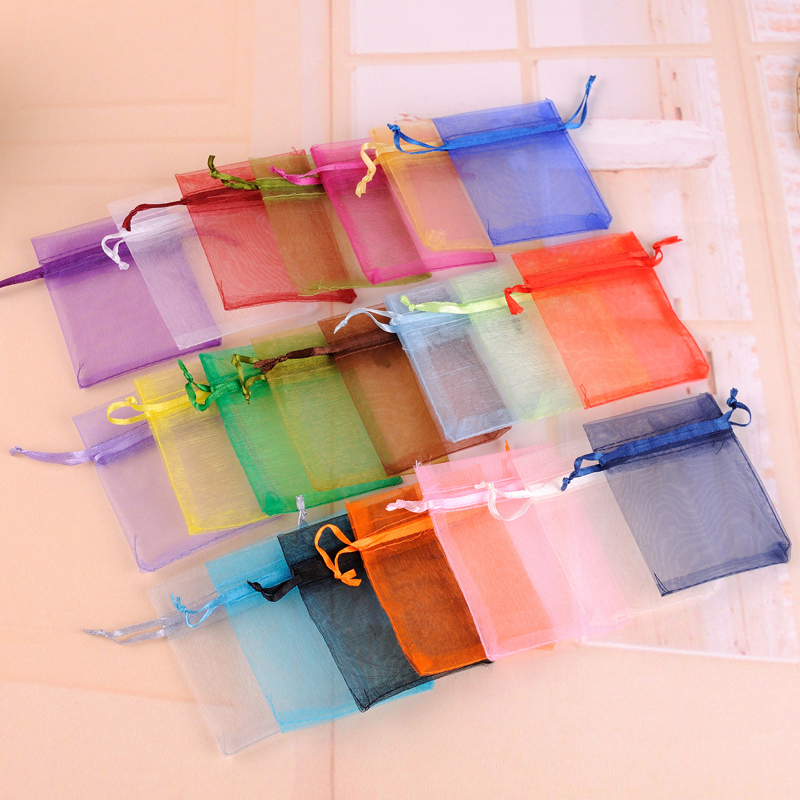 Organza Sachet Bags 5X7CM 100pcs/Lot Random Mixed Color Drawstring Small Jewelry Bags For Rings Necklace Packaging