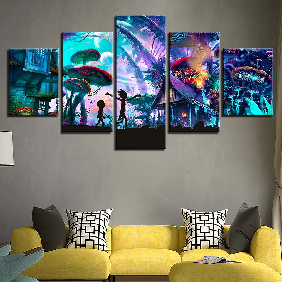Canvas Painting HD Prints Home Decor 5 pieces rick and morty animation Wall Art Modular Pictures for kids room Artwork Poster in Painting Calligraphy from Home Garden