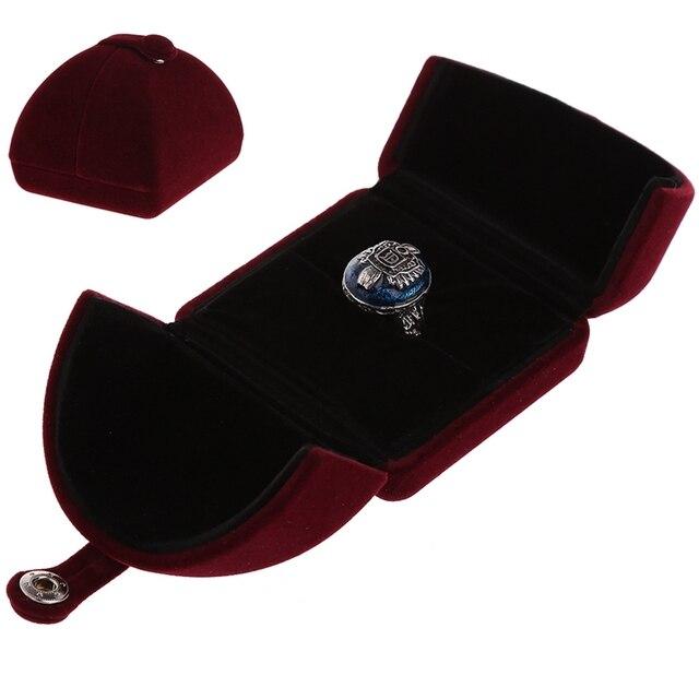 Mode Fluwelen Engagement Wedding Ring Hanger Sieraden Display Box Dubbele Cover Sieraden Display Opslag Opvouwbare Case