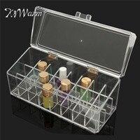 KiWarm Acrílico 24 Batom Titular Display Stand Organizador Cosmetic Makeup Caso Caixa de Recipiente Para Casa Decoração