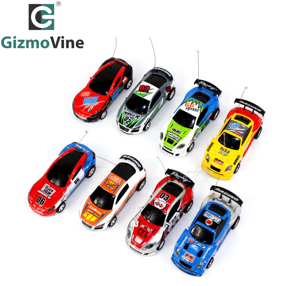GizmoVine 7 Colors Mini Car Coke Can RC Car Radio Remote Control Racing Truck Micro Toy Road Blocks Electric Kid Toys Gifts