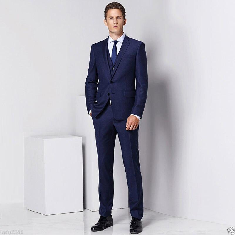 2017 Menu0026#39;s Tailored Navy Blue 3 Piece Slim Fit Regular Formal Men Business Wedding Suits Groom ...