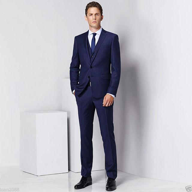 2017 Men\'s Tailored Navy Blue 3 Piece Slim Fit Regular Formal Men ...