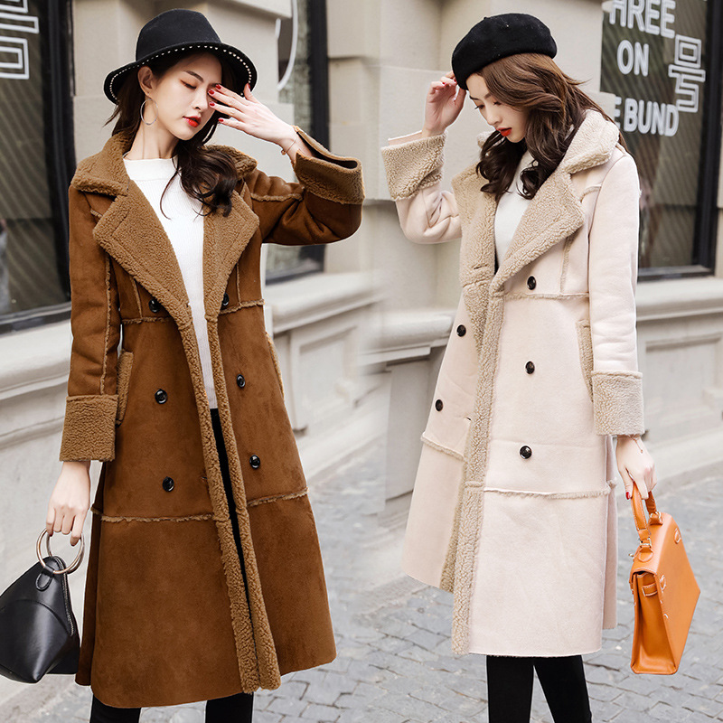 Winter fashion Woman Shearling Coats Faux Suede Leather Jackets Outerwear Female Double Breasted Long Faux Lambs Wool Coat