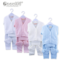 Goulfi Baby Boys Clothing Sets Baby Girl Clothes Twisted Strip Pattern Sweater Set 4 Pcs Newborn Clothes Set Unisex 0 3 Month