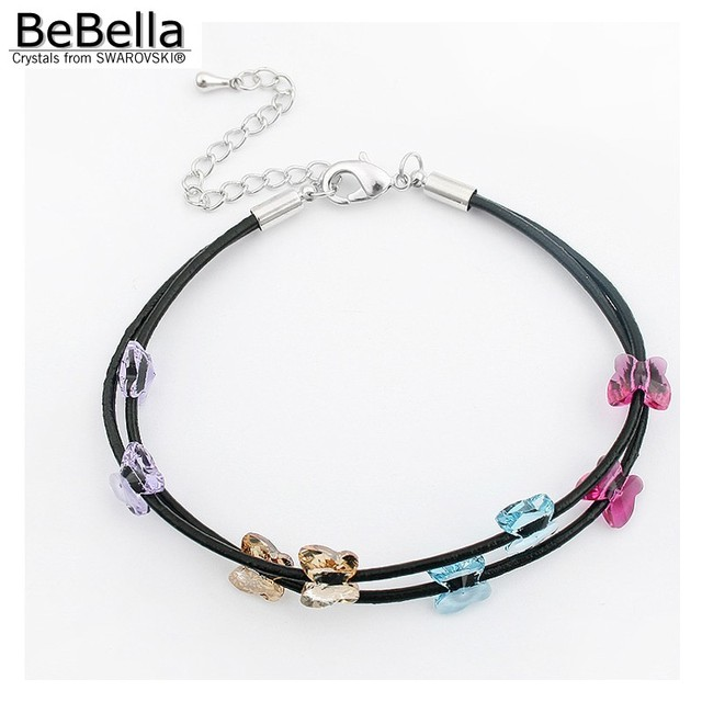 BeBella crystal butterfly bead black rope bracelet with Crystal from  Swarovski fashion jewelry for girl women birthday gift 2018 612a6c1b9