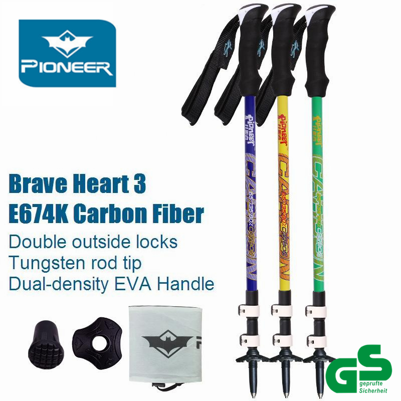 80% E-674k Carbon Fiber Tube Tourism Telescopic Bastones Trekking Hiking Poles Nordic Walking <font><b>Sticks</b></font> Folding Cane Brave Heart 5