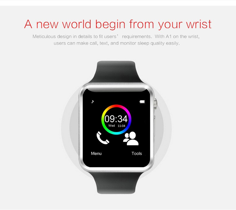 A1 WristWatch Bluetooth Smart Watch Sport Pedometer with SIM Camera Smartwatch For Android white one size 4