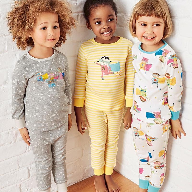 Новинка, пижамные комплекты для маленьких девочек осеннее ночное белье с длинными рукавами хлопковые детские пижамы осенние комплекты детской одежды для детей от 1 до 6 лет