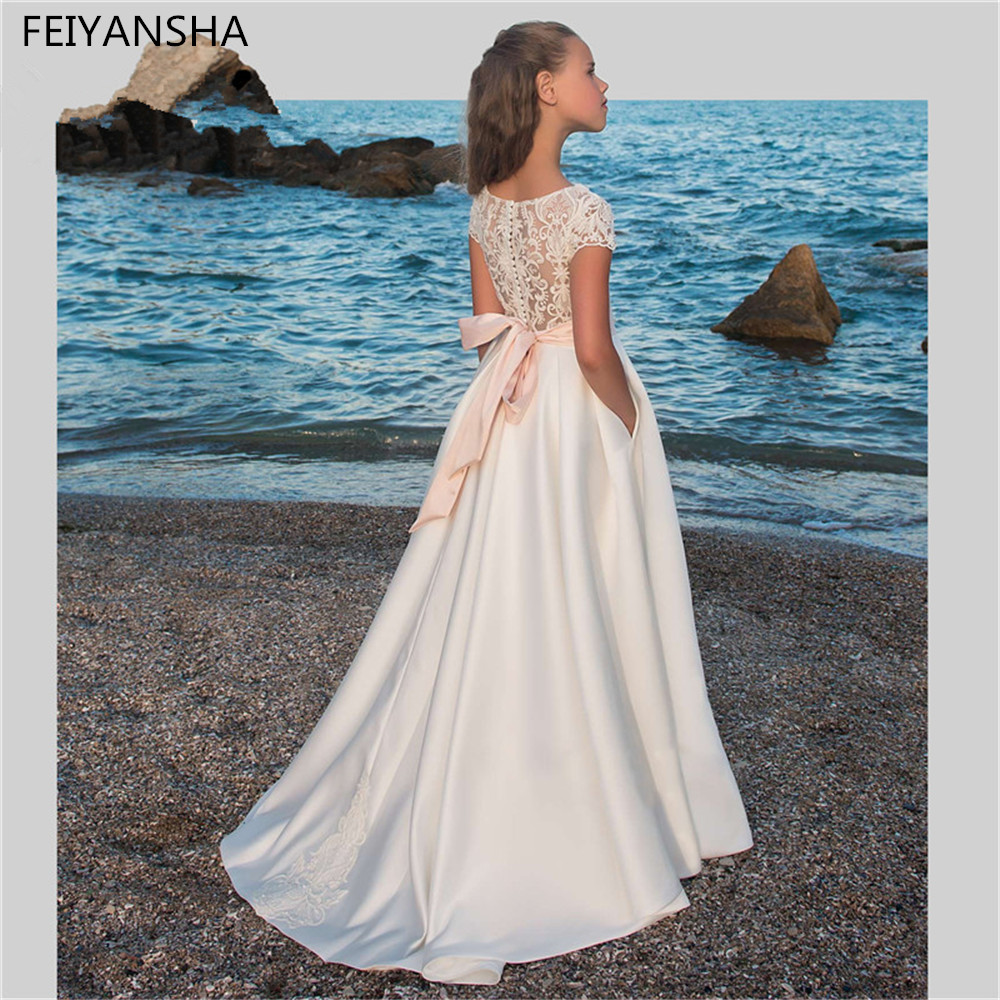 Nouveautés dentelle perles pierre fleur filles robes enfants Pageant robes première Communion robes pour mariages Vestidos deminha