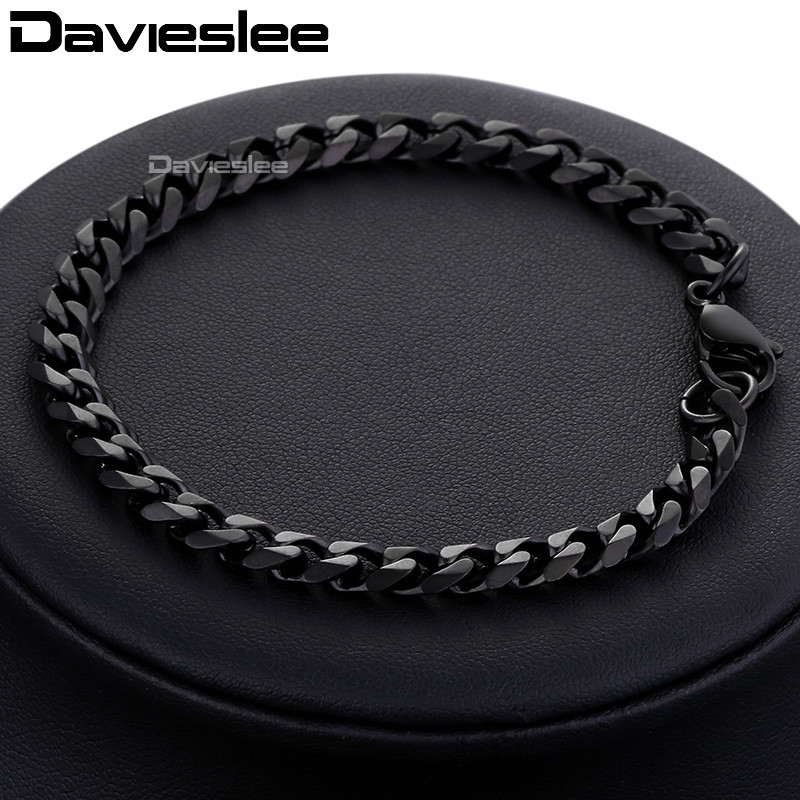 Bracelet for Men Women Curb Cuban Link Chain Stainless Steel Mens Womens Bracelets Chains Davieslee Jewelry for Men DLKBM05 HTB1fzeiXrZnBKNjSZFrq6yRLFXaR