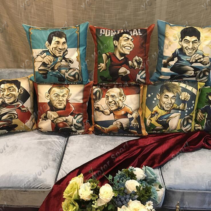 Football Player Throw Pillow Case Linen Cushion Cover 1pc Without Pillow Inner For Messi Cristiano Ronaldo Barcelona Real Madrid