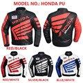Светоотражающие пояса Новейшие Мотоциклетная Куртка PU Кожа Honda Куртка Зима Теплая Мотоцикл Гонки Рыцарь Костюм Световой