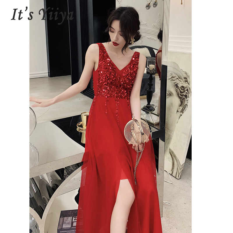 It's Yiiya   Evening   Gowns V-neck Women Party   Dresses   Lace Robe De Soiree 2019 Long Plus Size Sleeveless Sequin Formal   Dress   E698