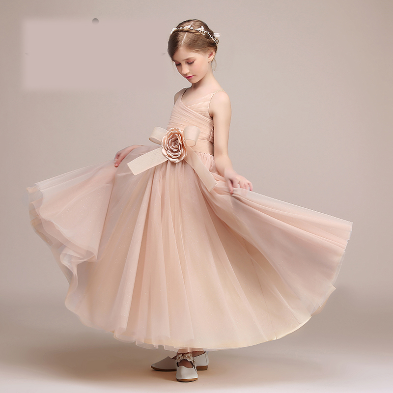 Hot Sale 2017 Solid Lace Pierced Floral Print Princess Kids Dress For Girls 2017 Prom Party Embroidery Sweet Baby Girl Dress P62
