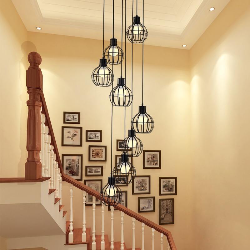 Moderne simple escalier salle à manger lustre restaurant créatif personnalité villa double renouvelable escalier lampe pendentif lampe