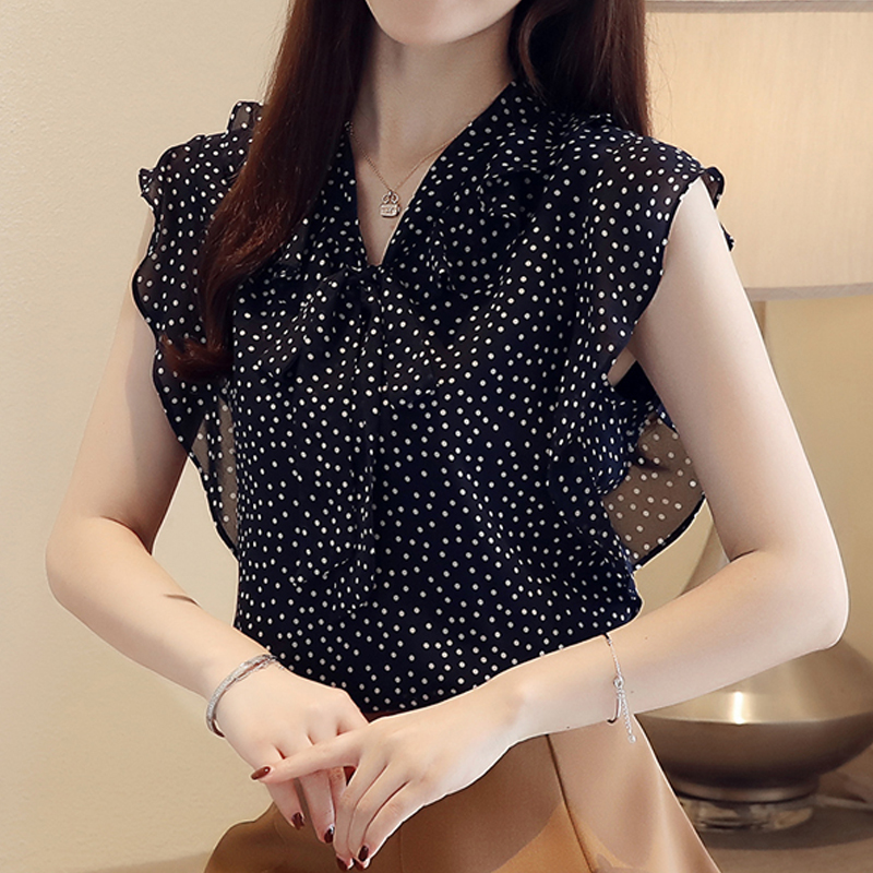 Summer New Bow Polka dot chiffon women   blouse     shirt   V-neck chiffon women top Floral   Blouse   Camisas Femininas Female Fashion 15J3