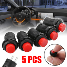 5pcs Red 12V Red Car Dash On-Off Momentary Push Button Horn Doorbell Switch 12mm Momentary Push Button Switch 125V 3A
