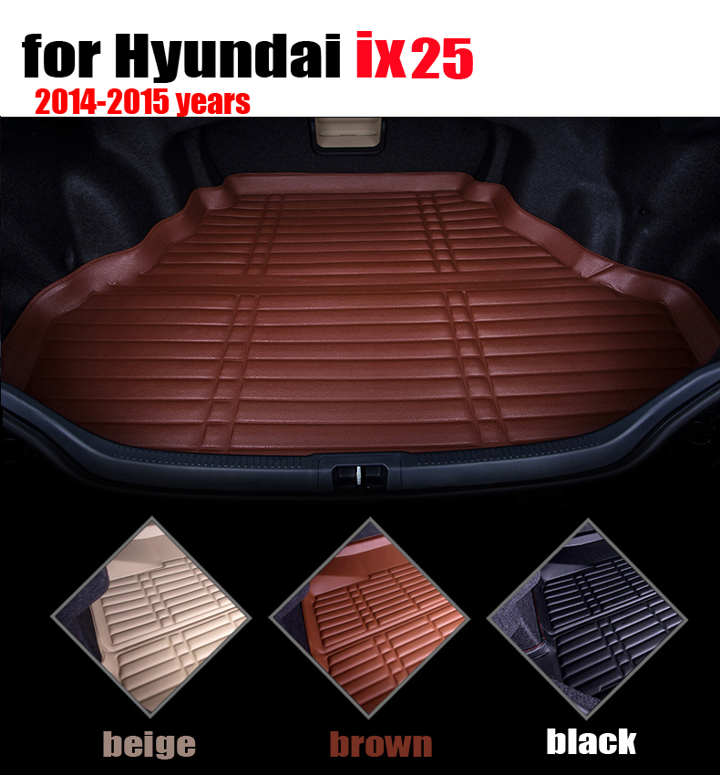 car trunk liner for Hyundai ix25 2014 2015 years waterproof leather cargo liner car mats cargo mats auto autoaccessories car rear trunk security shield cargo cover for volkswagen vw tiguan 2016 2017 2018 high qualit black beige auto accessories