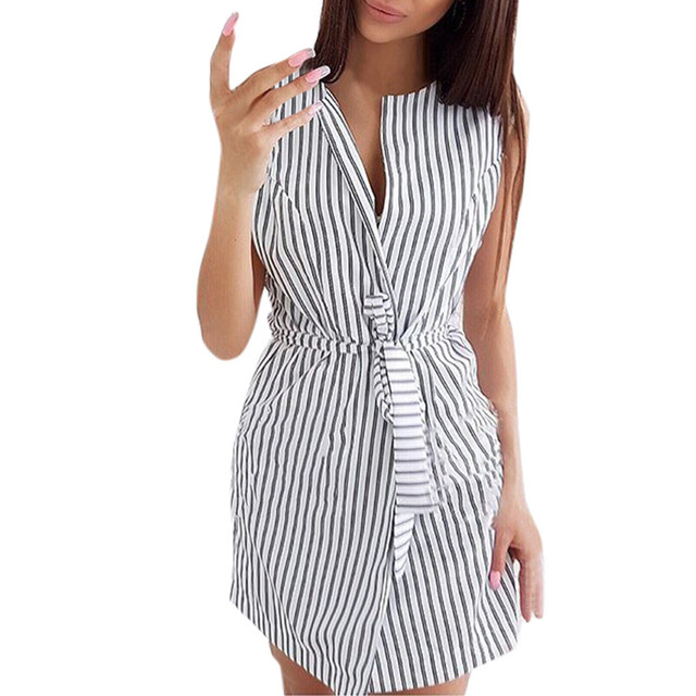 Striped Pattern and Sleeveless Bohemian Style Dress for Women