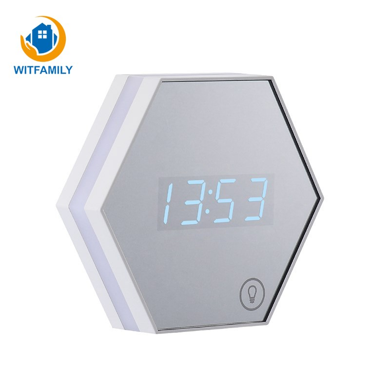 Fashion New Home Bedroom Decoration Timer Multi function Mirror Alarm Clock Creative Desktop Mirror Led Digital Clock