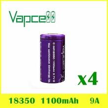 4 шт. VAPCELL INR 18350 1100 мАч литиевая батарея 3,7 в перезаряжаемая высокомощная непрерывная 9А электронная дымовая E-CIG IMR батареи