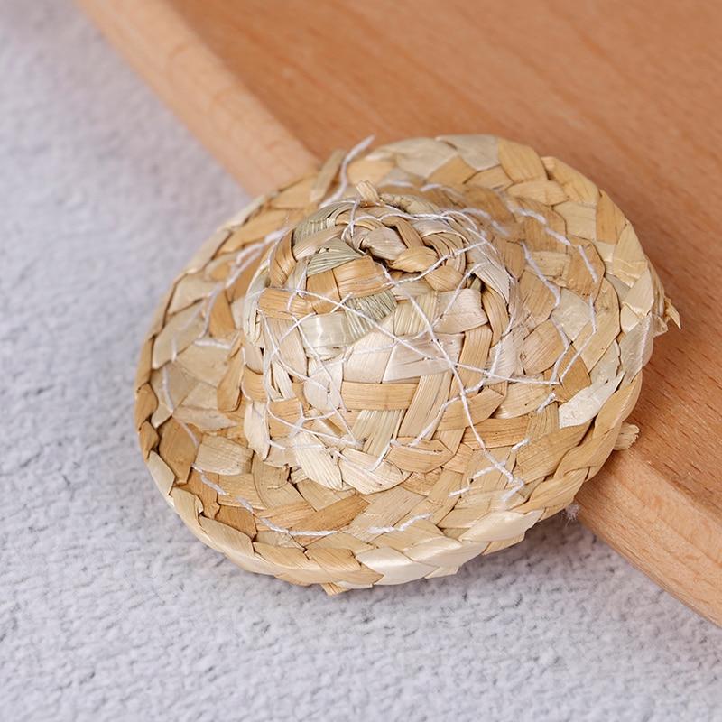 1/12 Hand Weaved Straw Hat Mini Doll Hat Ornament Strawhat Dollhouse Miniature Kits Accessories