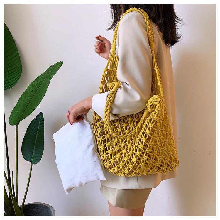 Oversized Straw Shopper Bag, Natural Straw Tote Bag for Summer 2021
