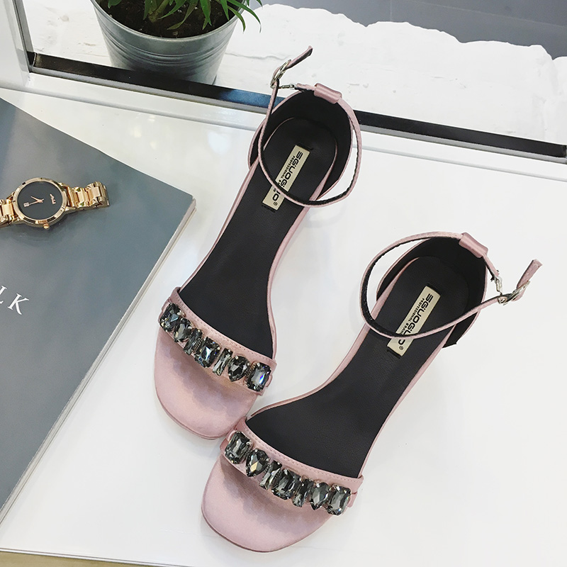 ФОТО Korean summer women chunky high heels peep toe pumps with rhinestones glitter buckle PU platform sandals female designer shoes
