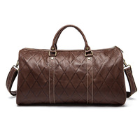 Продажа большой емкости портативный мужские дорожные сумки Прочный Ромбовидные плед модные кожаные duffel сумки