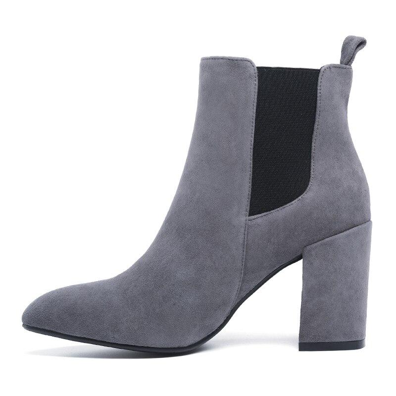 Tacón Chelsea De Las Zapatos G374 Botas Mujeres Grueso Gamuza La Alto grey Universo Talón Cuero Decoración Black Flor Del wxRPPI