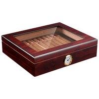 Portable Spain Cedar Cigar Case Wood Travel Cigar Humidor Set with Humidifier and Hygrometer Brown Storage Box CA 0121