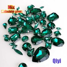 Sell at a loss! 50pcs/bag high quality mixed shape Malachite green glass sew on claw rhinestones,diy clothing accessories SWM09(China)