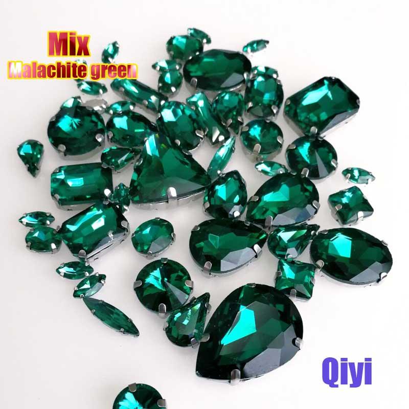 Vendre à perte! 50 pcs/sac de haute qualité forme mixte Malachite vert verre coudre sur griffe strass, bricolage vêtements accessoires SWM09
