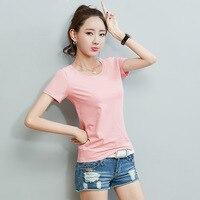 KL116 Лидер продаж хлопчатобумажная футболка Женские однотонные простые дна blusas летняя одежда для девочек футболки с коротким рукавом топы